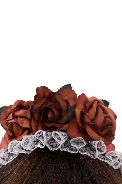 rose red headband front closeup