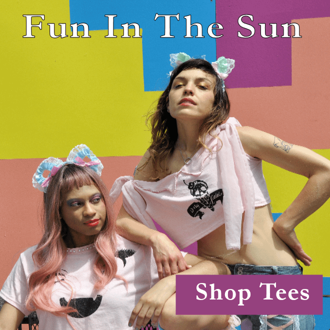 """2 woman wear pink cropped t-shirts with glitter anime and logo prints. Stated """"fun in the sun"""" and """"shop tees""""."""