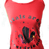 Full version of red tank top with adjustable straps with words crystals are my best friends. Graphic of crystals with holographic accents.