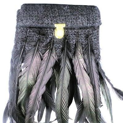 feather worn handbag