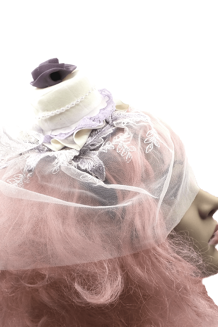 purple wedding veil side