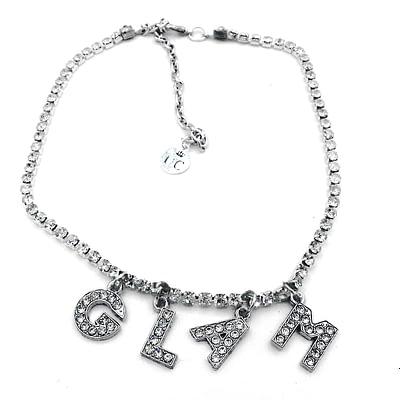 """Y2K rhinestone necklace with rhinestone words spelling """"glam""""."""