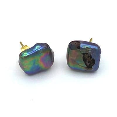 diamond square pearl earrings
