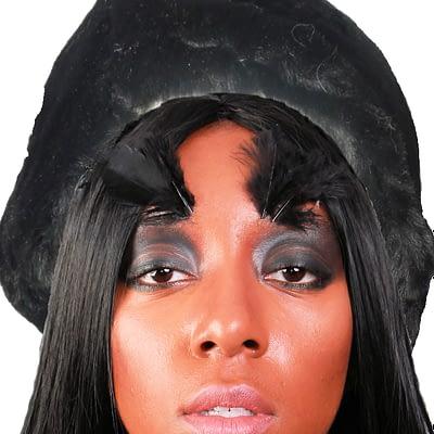 black faux hat front