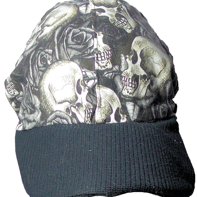 black and white skulls and roses front