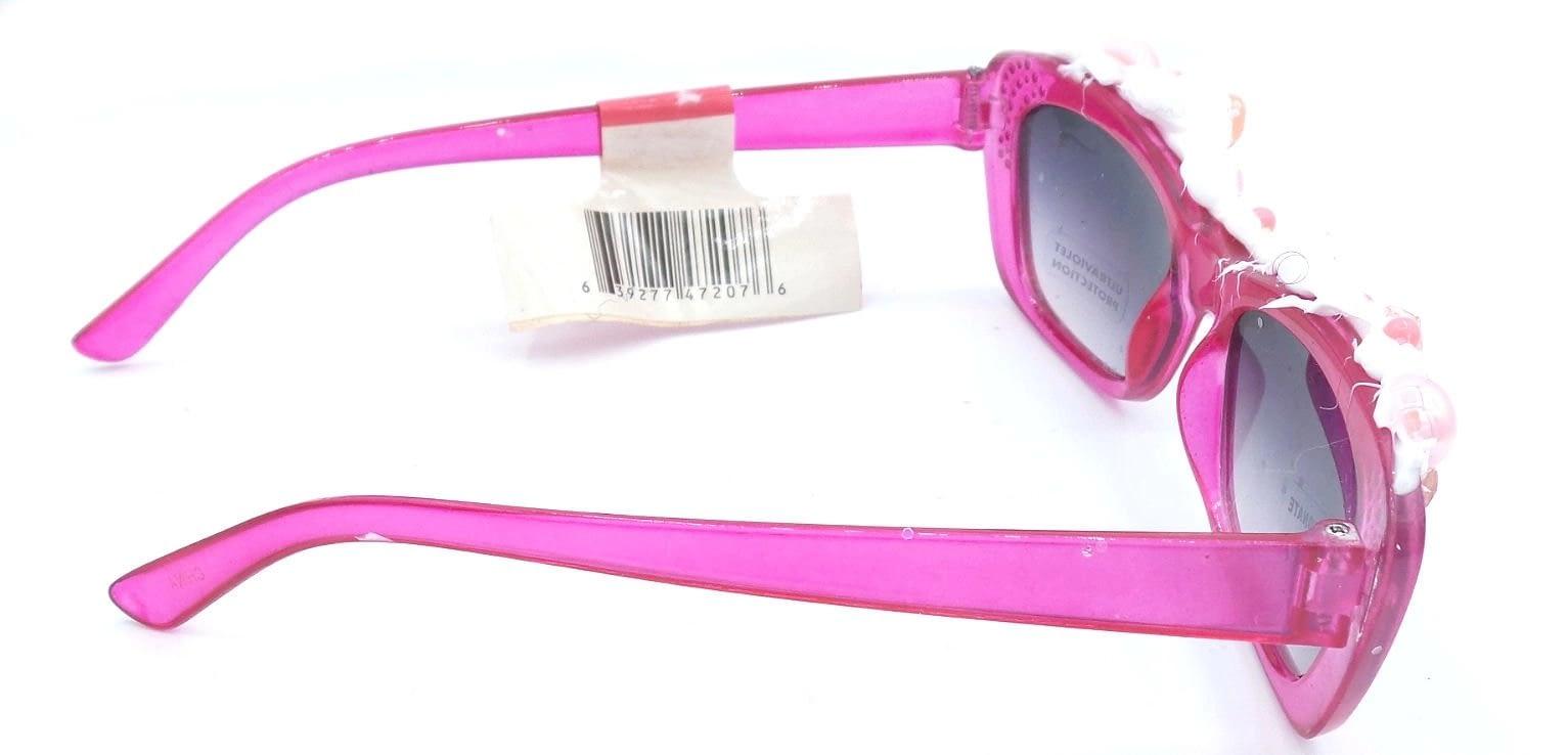 Side view of hot pink Yumi kawaii themes sunglasses
