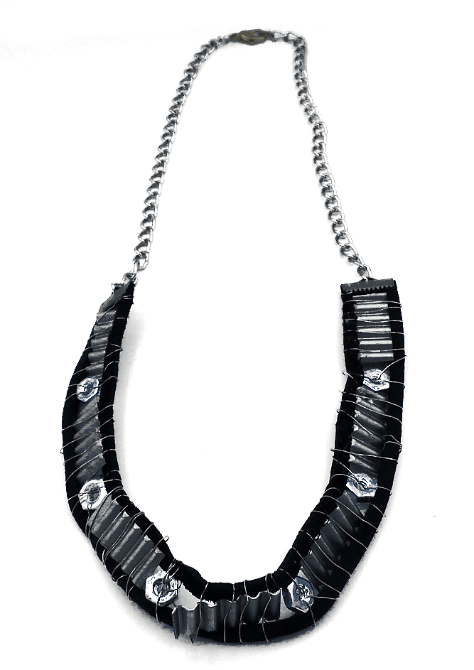 Father's day jewelry featuring metal sections and bolts between leather cord and cable chain