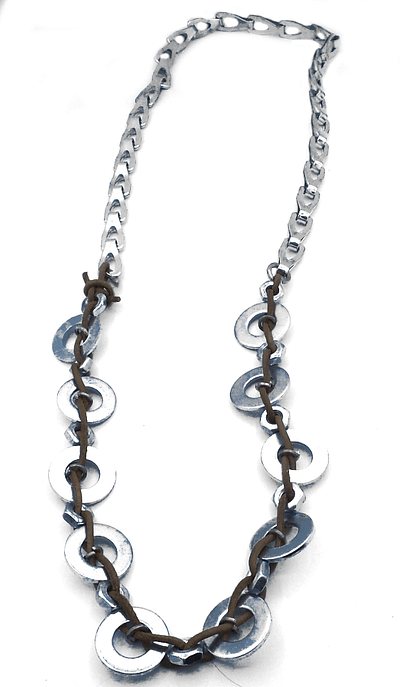 Bike chain combined with brown leather woven through washers and bolts.