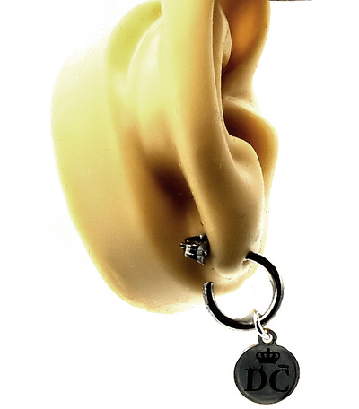 Logo hoop earring inside fake ear