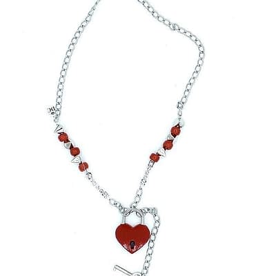 Red padlock on sliver chain with red pony beads and spike accents. Key attached to lock.