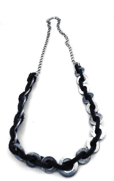 Woven leather cord between washers on silver chain.