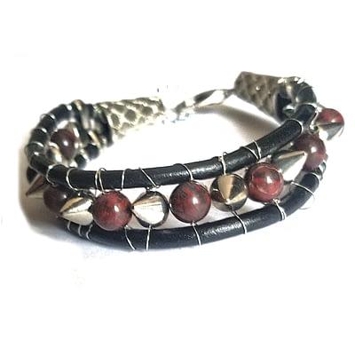jasper and stud leather men bracelet