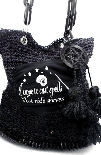 North South witch themed beach tote with front pocket and acrylic chain handles